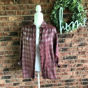 {N TOUCH} Mauve Vtg Shimmer Plaid Button Down Top